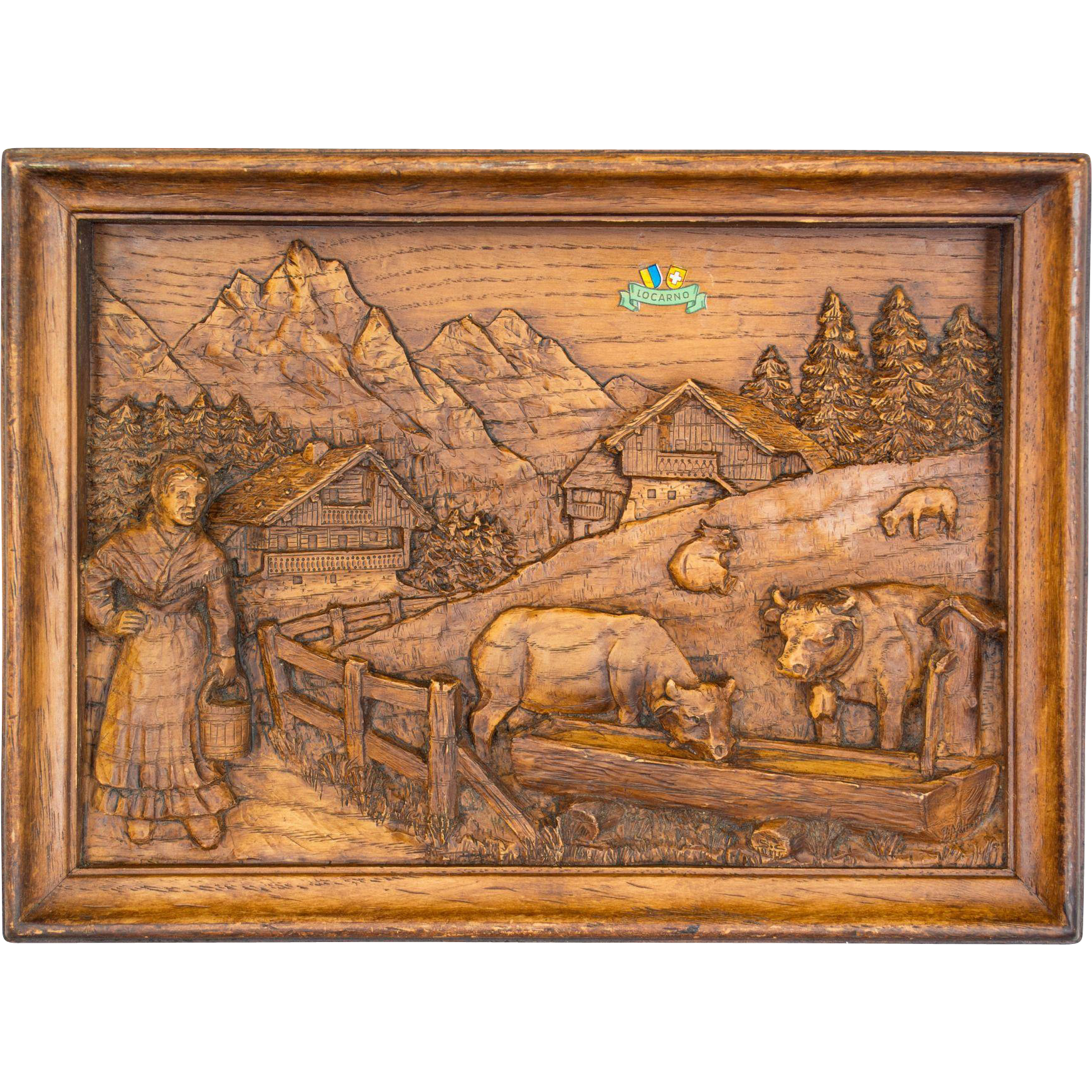 Swiss carved oak relief from ofleury on ruby lane
