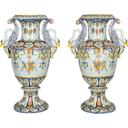 Pair of Large 19th c. French Faience Urns