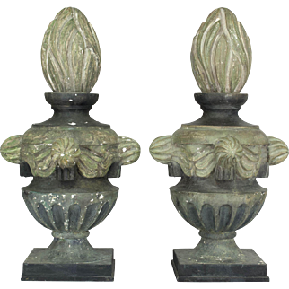 Pair of French Zinc Architectural Finials