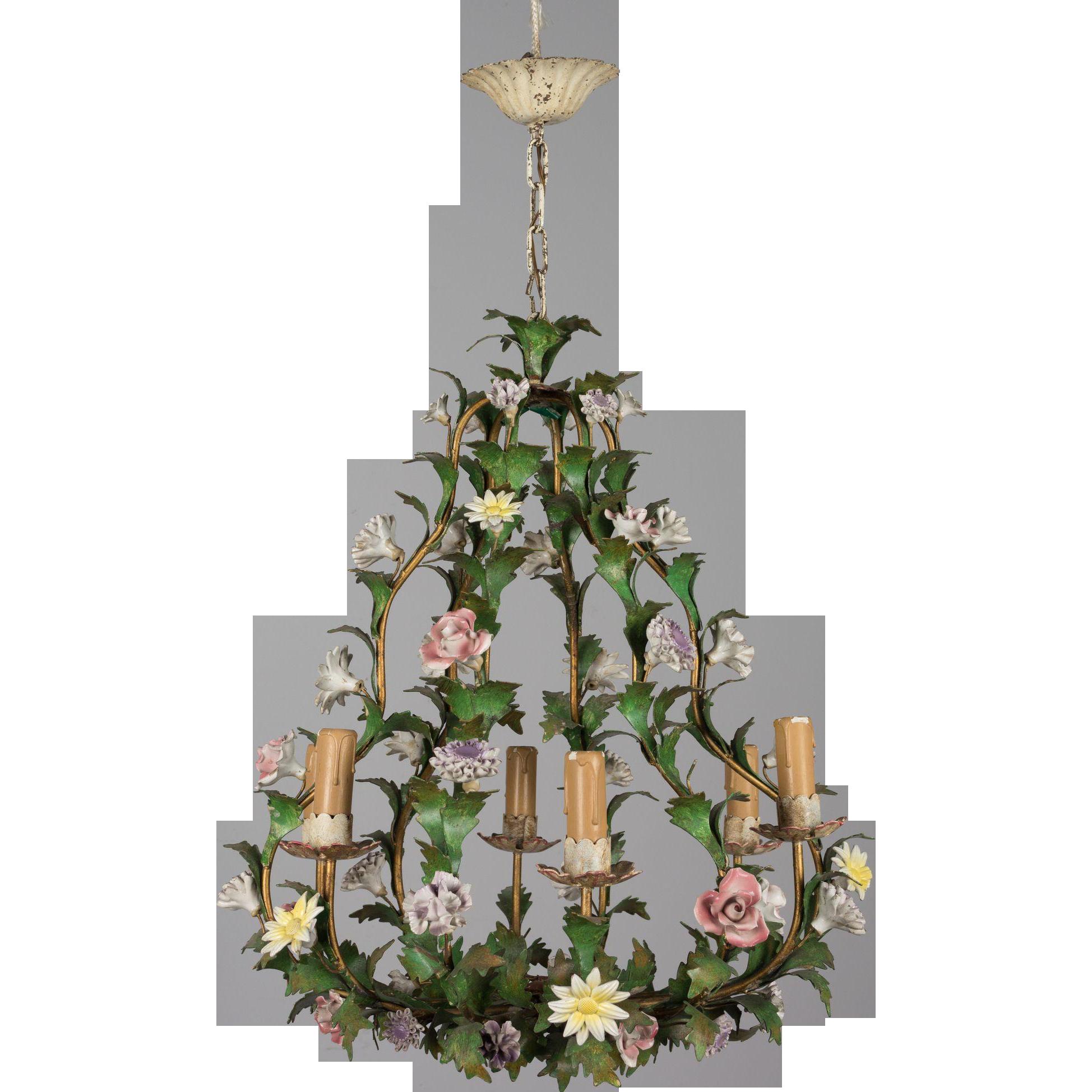 Italian Tole Chandelier with Porcelain Flowers Olivier Fleury