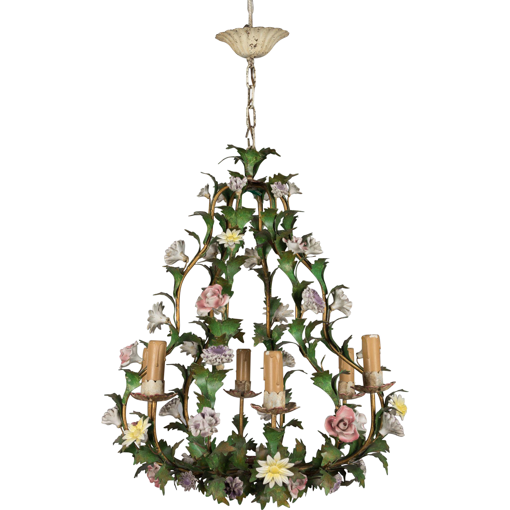 Italian Tole Chandelier with Porcelain Flowers from