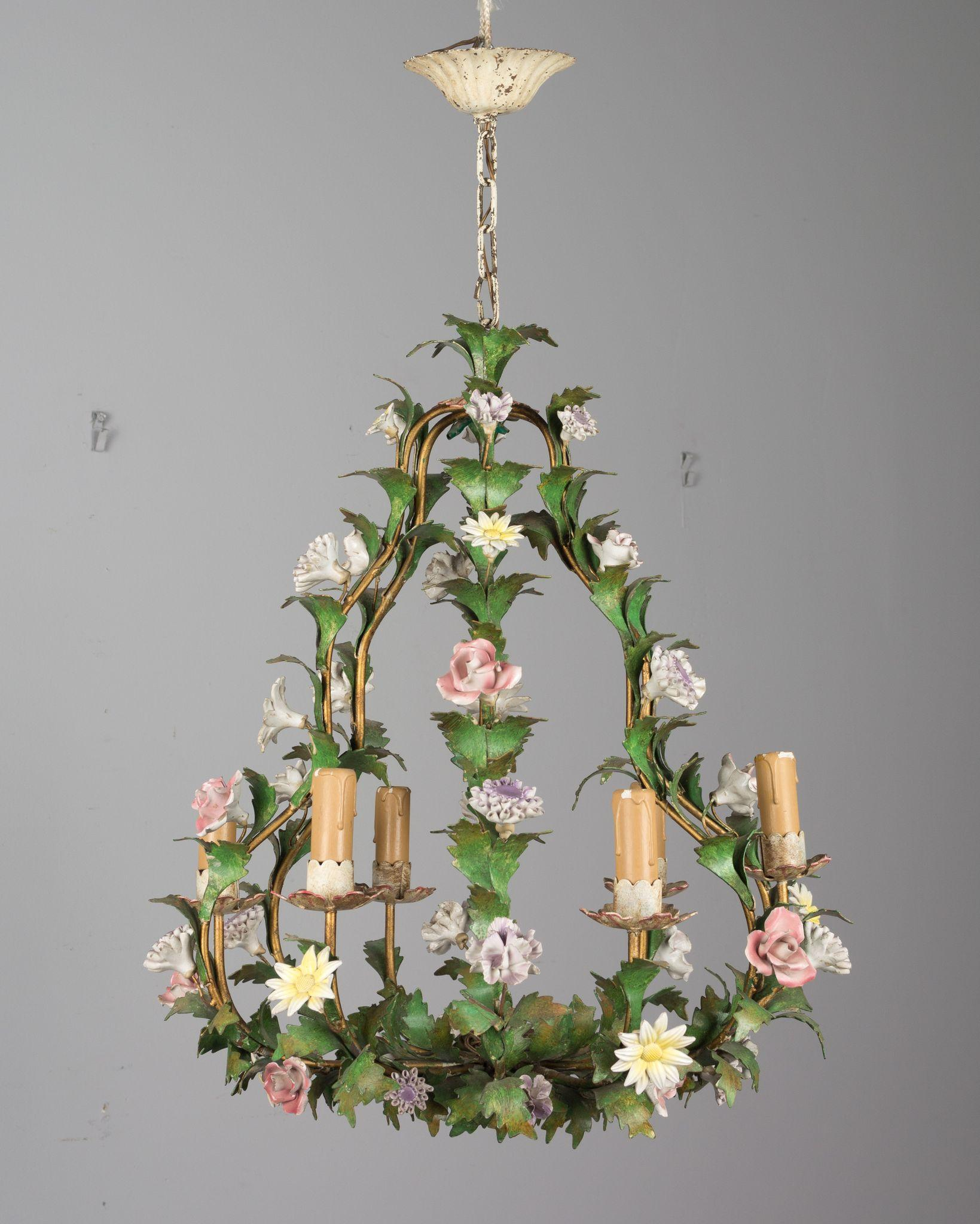 Italian tole chandelier with porcelain flowers from ofleury on roll over large image to magnify click large image to zoom arubaitofo Images