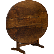 19th Century French Walnut Wine Tasting Table or Tilt-Top Table