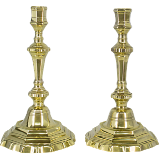 Pair of Louis XVI Brass Candlesticks