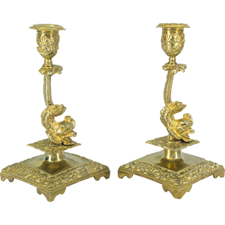 Pair of 19th c. Dolphin Candlesticks