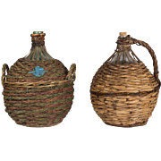 Pair of French Glass Demijohns in Wicker Baskets