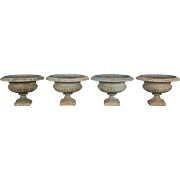 Set of Four 19th c. French Cast Iron Urns