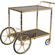 Mid Century French Brass Bamboo Bar Cart