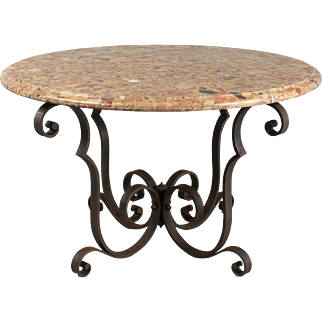 French Art Deco Wrought Iron Marble Top Table