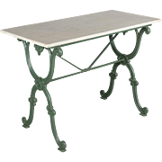 French Cast Iron Marble Top Bistro Table