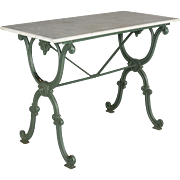 19th c. French Cast Iron Marble Top Bistro Table