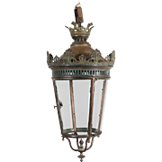 19th c. French Bronze & Copper Lantern
