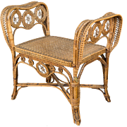 19th c. French Wicker Bench