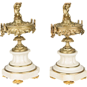 Pair of 19th c. Bronze & Marble Cassolettes