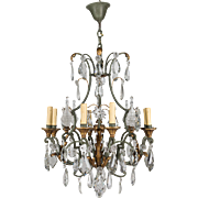 French Wrought Iron & Crystal Chandelier