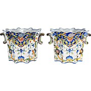 Pair of 19th c. French Desvres Cache Pot
