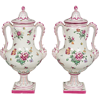Pair of 19th c. French Gien Faience Urns
