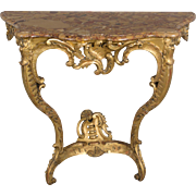19th c. Louis XV Style Gilded Console