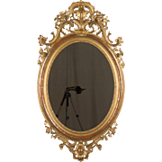19th c. Napoleon III Gilded Oval Mirror