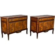 Pair of Louis XVI Style Marquetry Commodes