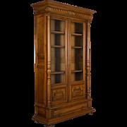 19th c. French Henri II Style Walnut Bibliotheque