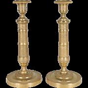 Pair of Louis XVI Brass Candlesticks