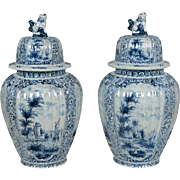 Pair of Delft Faience Urns
