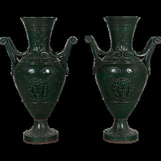 Pair of French Cast Iron Garden Urns