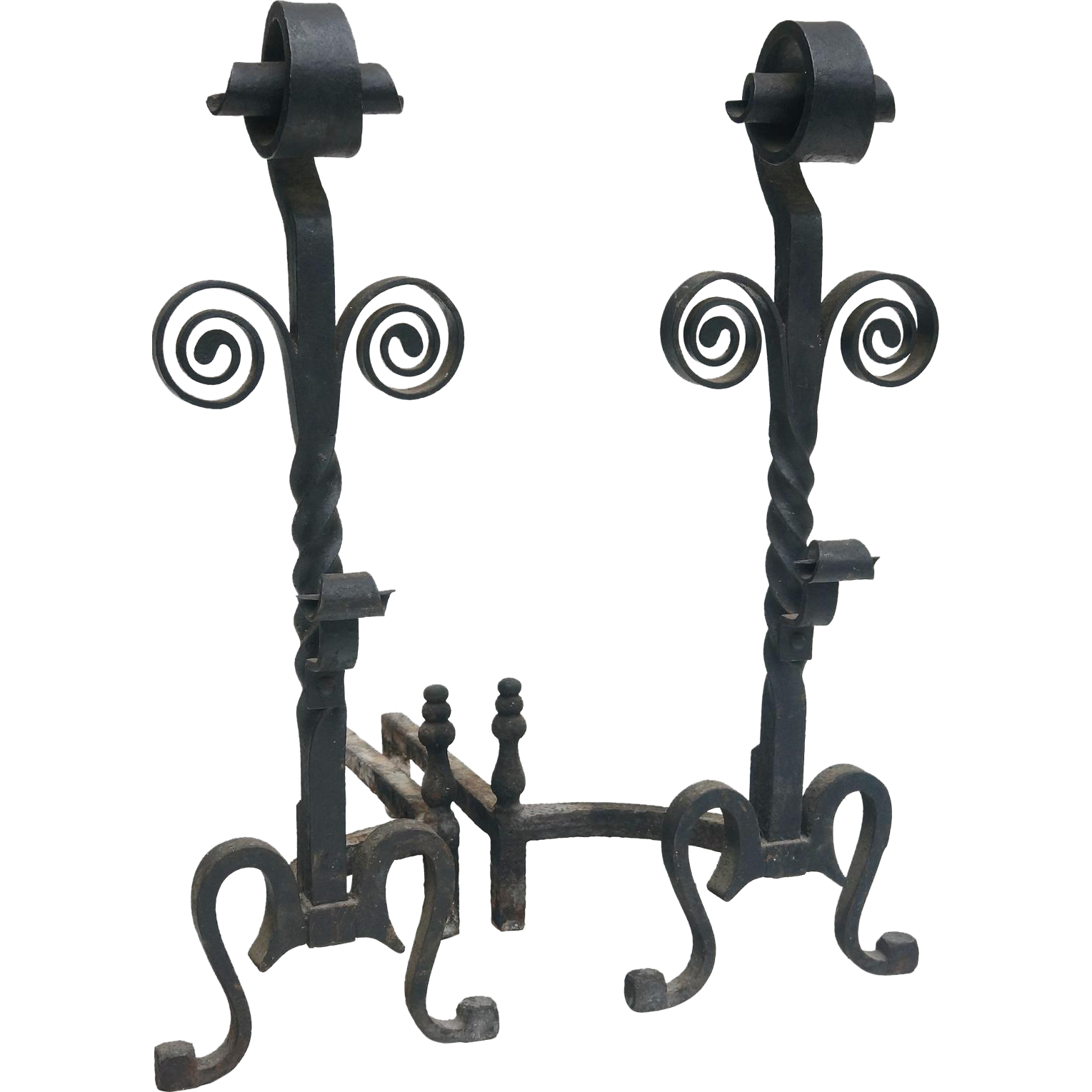 A large pair of Continental Andirons