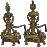 A late 19th. c. French Pair of Chenêts or Andirons