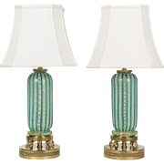 Pair of Murano Latticino Glass Lamps