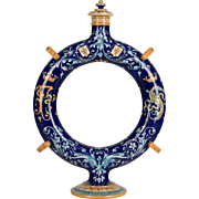 French Faience Circular Pilgrim's Flask