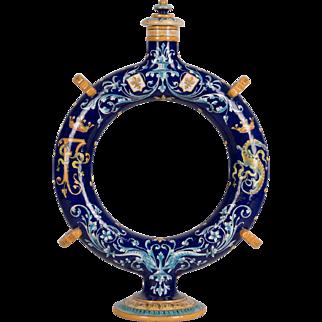 French Faience Circular Pilgrim's Flask