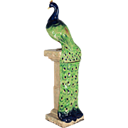 19th c. Majolica Peacock