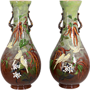 Pair of Large French Faience Vases