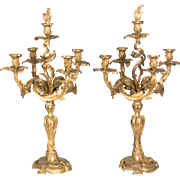 Pair of Louis XV Style Bronze Candelabra