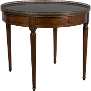 19th c. Louis XVI Style Marble Top Bouillotte Table