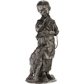 19th Century Japanese Bronze Sculpture of a Boy and His Dog