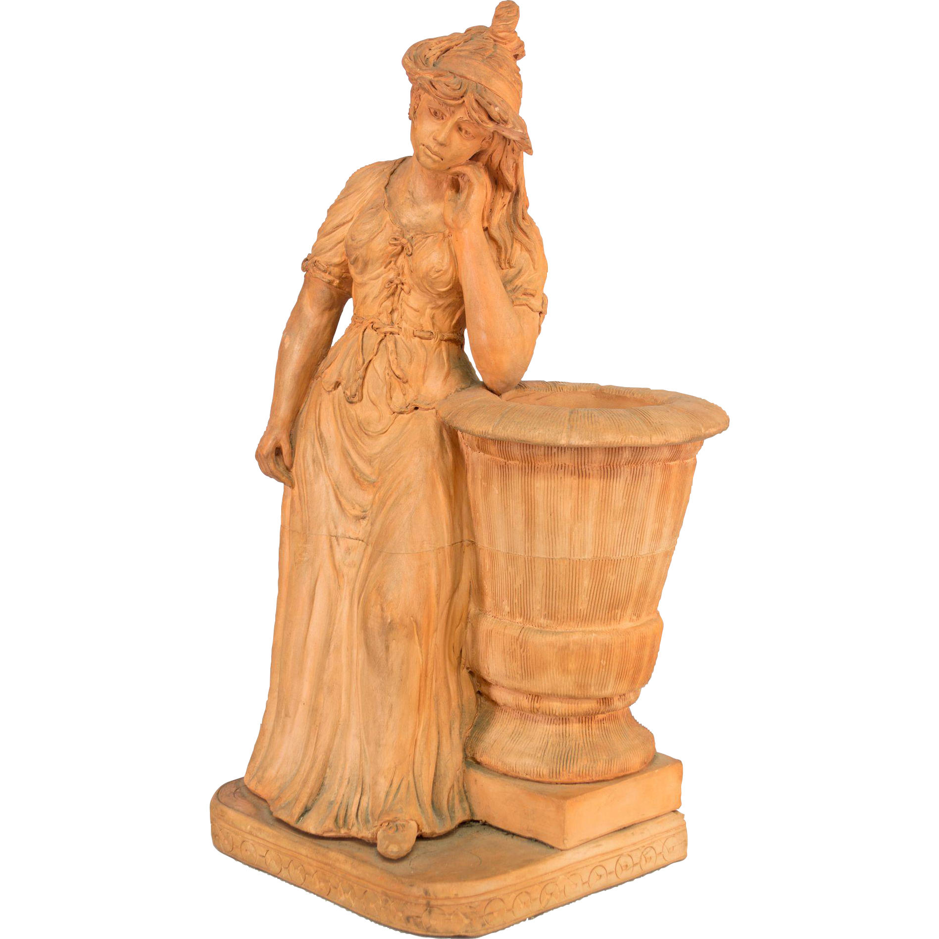 italian terracotta garden statue from ofleury on ruby lane. Black Bedroom Furniture Sets. Home Design Ideas