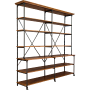 20th c. Parisian Iron and Oak Etagere