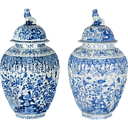 Pair of Large 17th c. Delft Jars