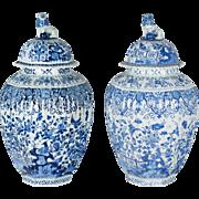 Pair of Large 17th c. Delft Jars