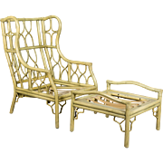 Ficks & Reed Rattan Chair and Ottoman