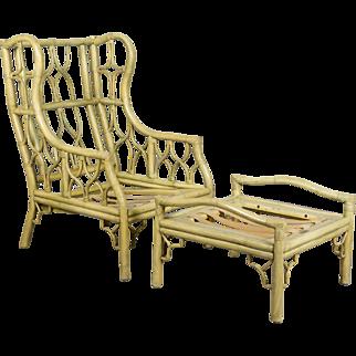 Ficks & Reed Rattan Chair and Ottoman