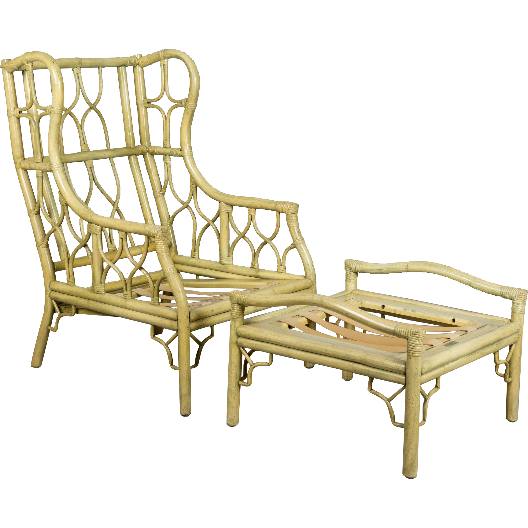 Ficks & Reed Rattan Chair and Ottoman from ofleury on Ruby