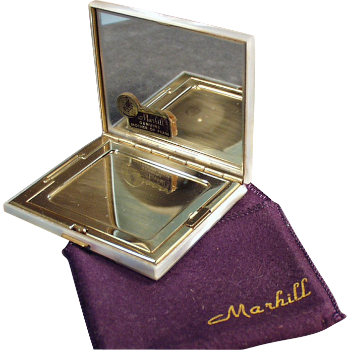 Old Marhill, Mirrored, Mother of Pearl Compact - Never Used