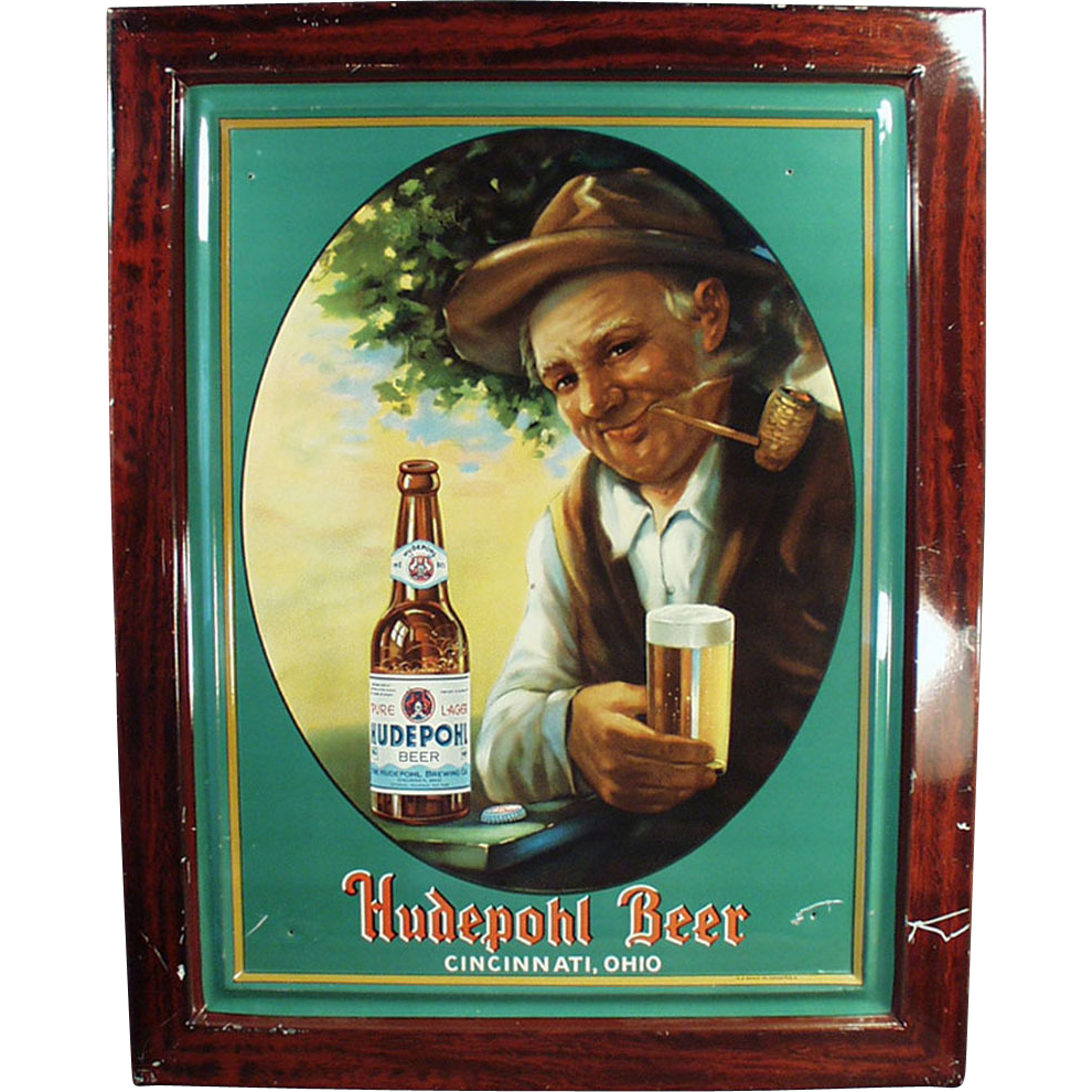 Old, Self Framed, Tin Advertising Sign - Hudepohl Beer