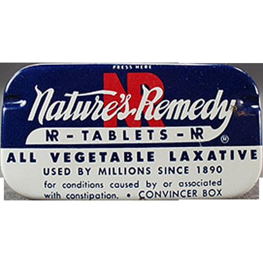 Old, NR Laxative Tin for Fun Bathroom Decorating