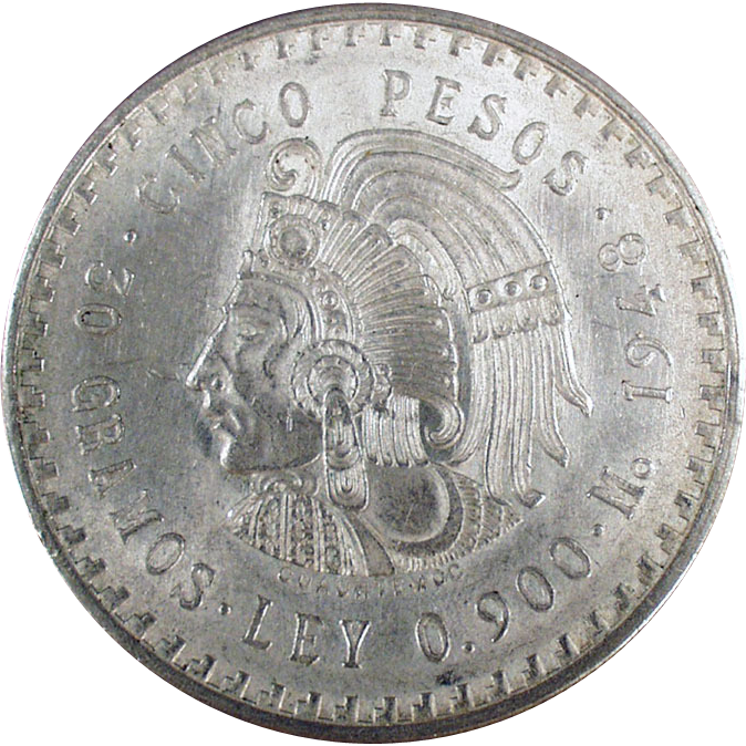 Mexican - 1948 Cinco Pesos, Silver Coin