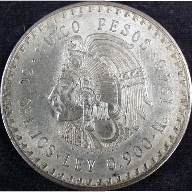 Mexican 1948 Cinco Pesos Silver Coin Sold On Ruby Lane